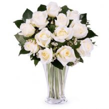 A Touch of Class: 12 white roses